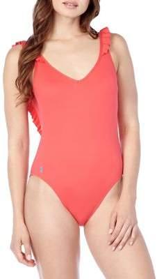449ad6e874de7 Polo Ralph Lauren Modern Solid Ruffle One Piece Swimsuit