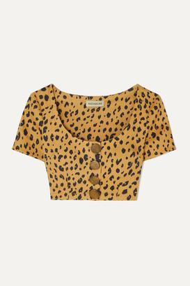 Nicholas Button-detailed Cropped Leopard-print Tencel-blend Top