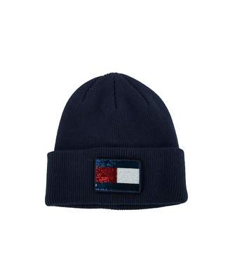 Tommy Hilfiger Accessories Glitter Flag Beanie Hat Colour: NAVY, Size: