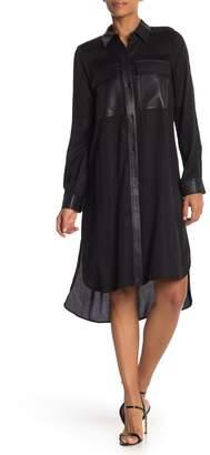 BCBGMAXAZRIA ZDNU Woven Faux Leather Accent Midi Dress