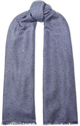 Brunello Cucinelli Sequined Cashmere And Silk-blend Scarf - Navy