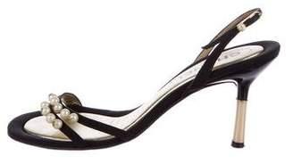 Chanel Pearl-Embellished Slingback Sandals