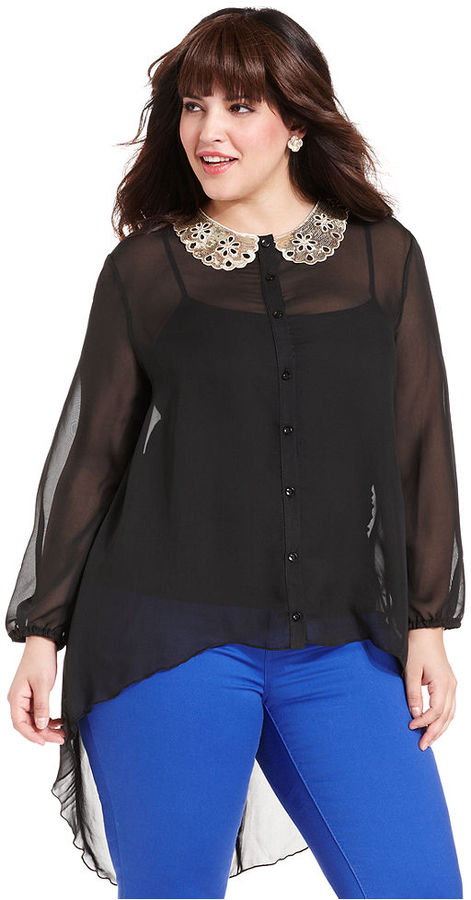 ING Plus Size Top, Long-Sleeve Emebllished High-Low