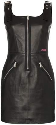 Heron Preston leather zipper sleeveless mini dress