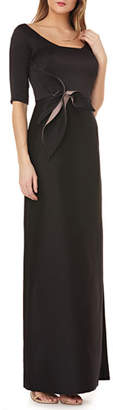 Kay Unger New York Elbow sleeve gown in stretch