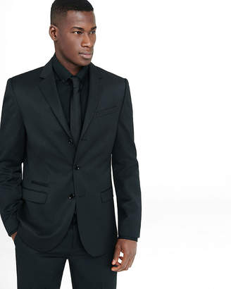 Express Slim Black Wool Blend Twill Suit Jacket