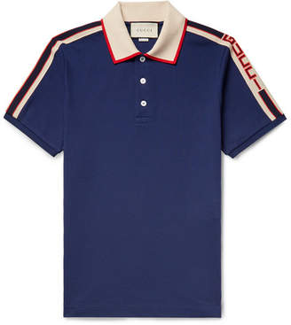60d6e43df63 Gucci Webbing-trimmed Stretch-cotton Pique Polo Shirt - Navy