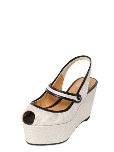 Castaner 80mm Canvas Open Toe Mary Jane Wedges