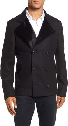 John Varvatos Velvet Detail Wool Blend Pea Coat
