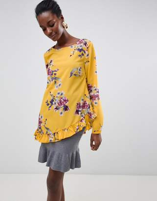 Vila Floral Top With Ruffle