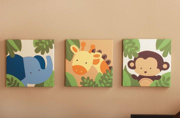 Kids Line Canvas Wall Art-3 Pc. - Jungle 123