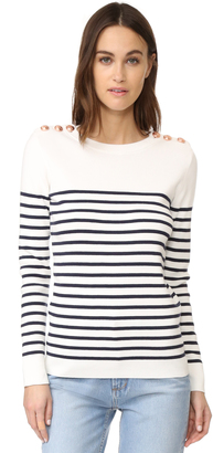 Petit Bateau Striped Button Embellished Sweater $149 thestylecure.com