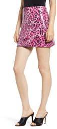 Endless Rose Allover Sequin Leopard Print Miniskirt