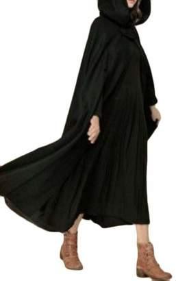 Wofupowga Women Hooded Plus Size Cape Poncho Open Front Outwear Trench Coat XXXL