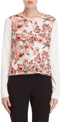 Giambattista Valli Floral Embroidered Wool Cardigan