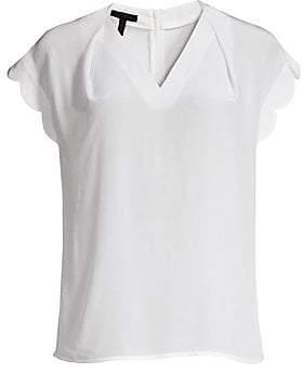 Escada Women's Niquad Silk Scalloped Cap-Sleeve Top
