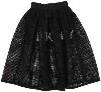 DKNY Logo Printed Mesh & Milano Jersey Skirt