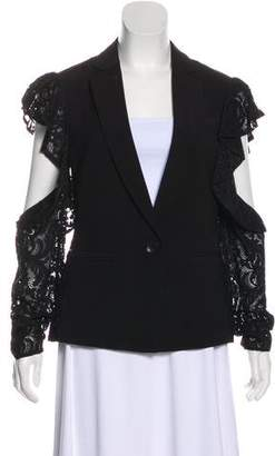 BCBGMAXAZRIA Lace-Trimmed Cold-Shoulder Blazer