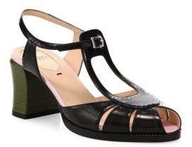 Fendi Chameleon Leather T-Strap Sandals