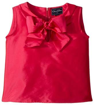 Oscar de la Renta Childrenswear Taffeta Sleeveless Bow Blouse Girl's Blouse