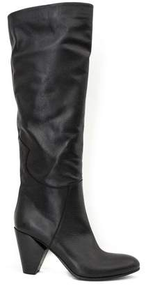 Strategia Black Stretch Leather Tall Boots.