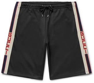 Gucci Webbing-Trimmed Tech-Jersey Shorts - Black