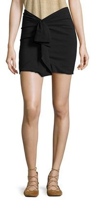 Isabel Marant Ruffled Linen-Stretch Jersey Mini Skirt, Black $360 thestylecure.com