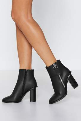 Nasty Gal Zip Side PU Heeled Ankle Boot