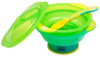 Vital Baby Unbelievabowl Travel Suction Bowl (x2) with Lid and Spoon - Green & Turquoise