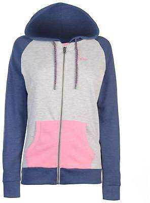 Lee Cooper Womens Colour Block Zip Through Hoody Hoodie Hooded Top Long Sleeve