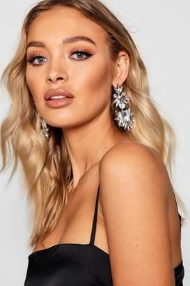 boohoo Diamante Floral Statement Earrings
