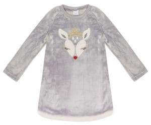 Petit Lem Little Girl's Christmas Deer Long-Sleeve Nightgown