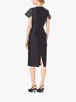 Michael Kors Pearl-Embroidered Silk and Wool Shantung Sheath Dress