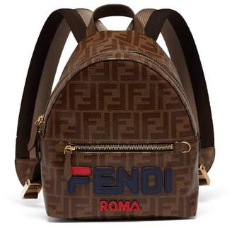 Fendi Mania Logo Applique Coated Canvas Backpack - Womens - Brown Multi