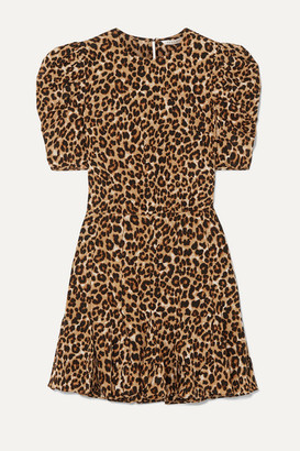 Veronica Beard Lila Leopard-print Stretch-silk Crepe De Chine Mini Dress - Brown