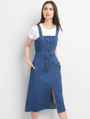 Gap Lace-Up Denim Tank Midi Dress
