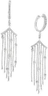 Effy Pave Classica Diamond and 14K White Gold Drop Earrings