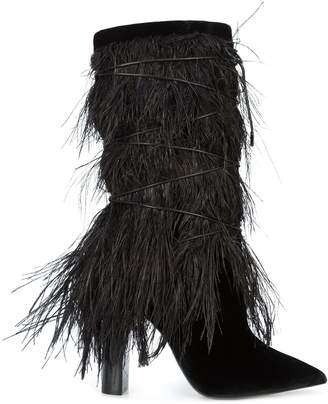 Saint Laurent Ostrich Feather Calf Boot