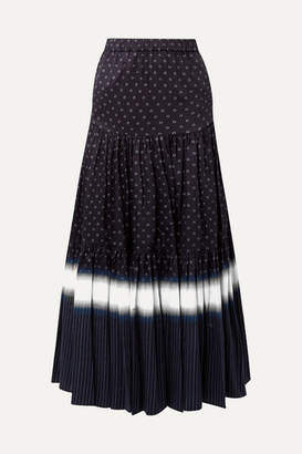 Tory Burch Tiered Printed Cotton-voile Maxi Skirt - Midnight blue