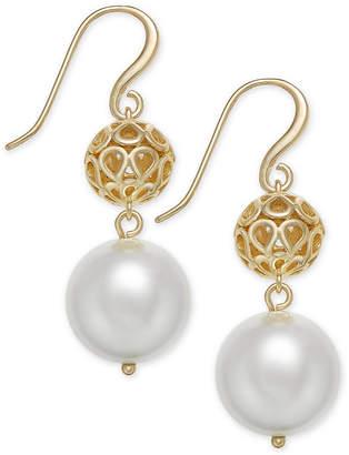 Charter Club Gold-Tone Filigree & Imitation Pearl Drop Earrings, Created for Macy's