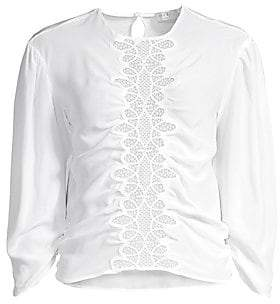 Sandro Women's Lace Puff Sleeve Silk Blouse