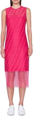 Akris Lip Embroidered Tulle Overlay Dress