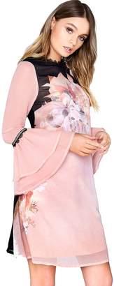 Little Mistress Fluted Sleeve Shift Dress - Pink