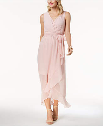 Sangria Ruffled Chiffon Maxi Dress