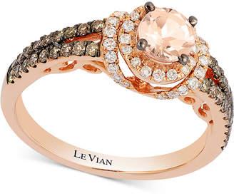 LeVian Le Vian Chocolatier Peach Morganite (1/3 ct. t.w.) & Diamond (1/2 ct. t.w.) Ring in 14k Rose Gold
