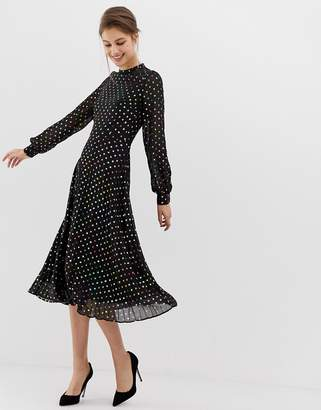 Warehouse midi dress with pleated skirt in foil polka dot