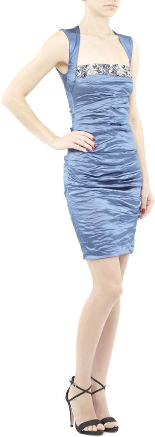 Nicole Miller Felicity Embellished Techno Metal Dress
