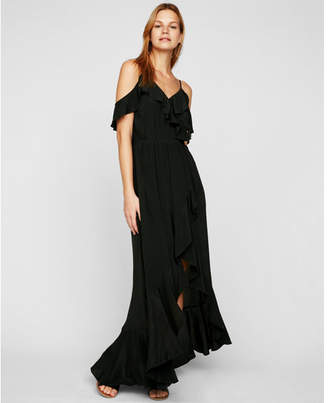 Express cold shoulder ruffle front fit and flare maxi dress
