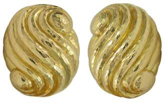 David Webb 18K Yellow Gold Hammer Finished Shell Earrings