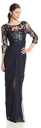 Adrianna Papell Women's Illusion Embroidered Sequin-Bodice Gown $220 thestylecure.com